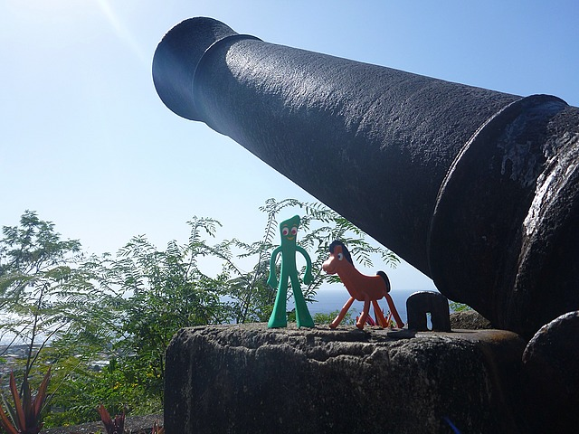 Jack's Walk Trail and little visitors - Gumby and Pokey. Obviously this was a good defensive vantage point on Dominica